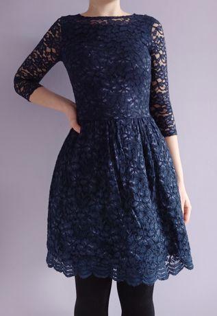 Sukienka koronkowa niebieska granatowa rozmiar XS/S