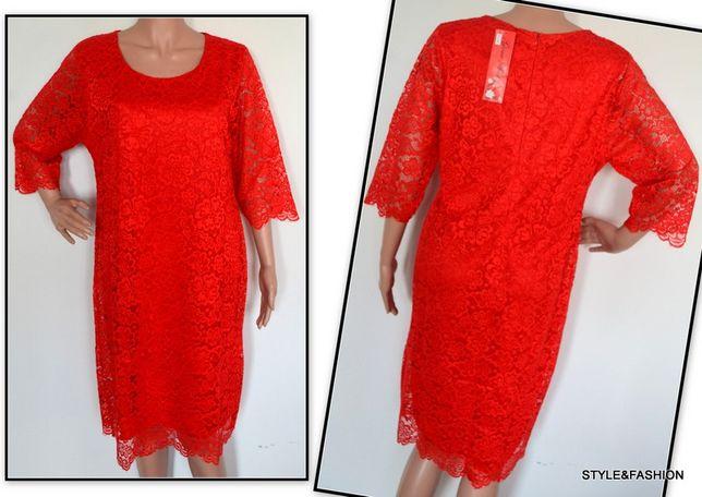 Koronkowa sukienka czerwona NOWA rozmiar 50
