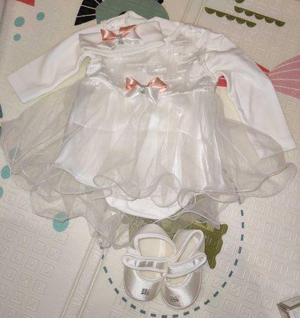 Набор праздничный(платье, бодик,повязка, туфельки)для девочки, 56-62см