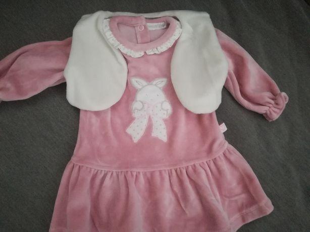 Conjunto vestido+ casaco para bebê novo (tamanho 3-6 meses)