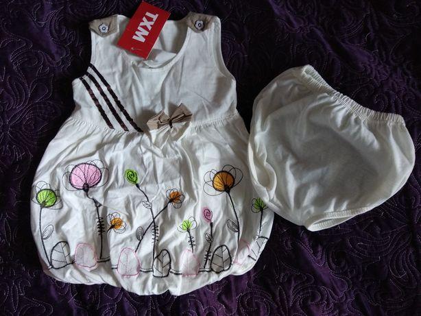 Nowa sukienka na lato plus majteczki TXM dla dziewczynki, roz. 68/74