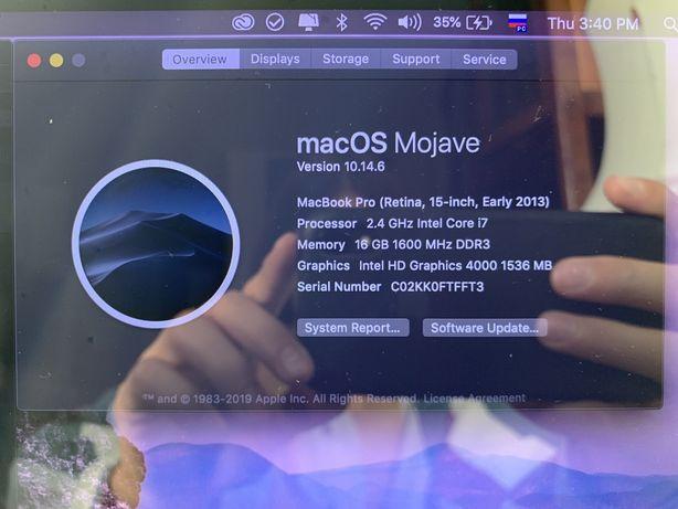 "Macbook Pro 15"" Retina, Early 2013, A1398, i7, 2.4Mhz/500SSD/16Gb"