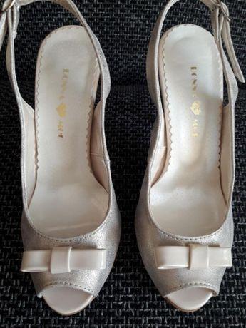 Buty sandały srebrne 35 /22,5 cm