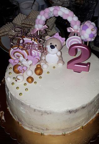 Ozdoba na tort rózowa miś dziewczynka