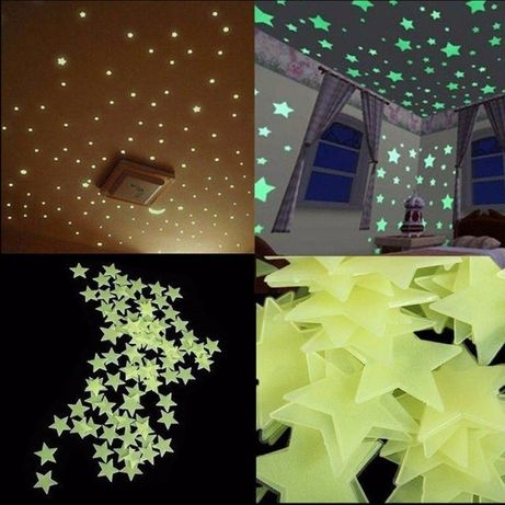 Светящиеся звезды наклейки на стену,потолок Фосфорные звездочки 50шт 2