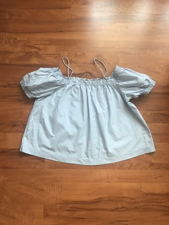 H&M bluzka hiszpanka Top poszukiwana rozmiar S błękitna