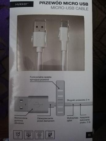 Kabel do ładowarki hykker 2m micro USB nowy