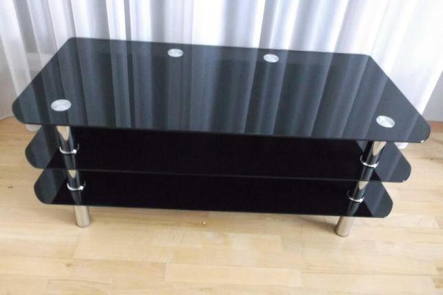 Stolik pod telewizor czarne szkło HIT
