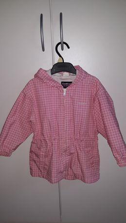 Różowa kurtka w kratkę, przejściowa 98cm