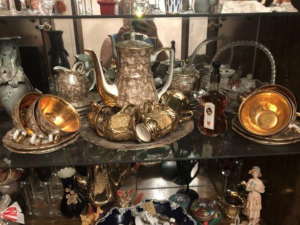Набор кофейный чайный коллекционный под золото
