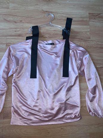 Oversizowa pudrowa/różowa bluza z odkrytymi ramionami Bershka