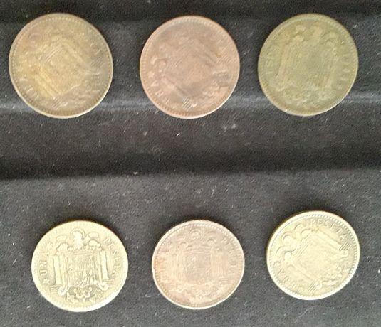 Coleção 6 moedas 1 peseta Espanha ,1944,1947,2x1953,,1963 e 1966