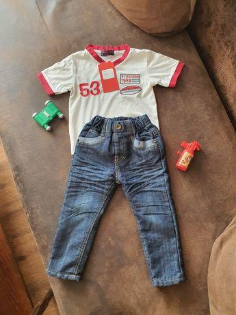 Джинсы на флисе на мальчика и футболка на 1.5-2 года