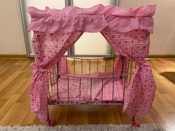 кроватка игрушечная металлическая с балдахином для кукол