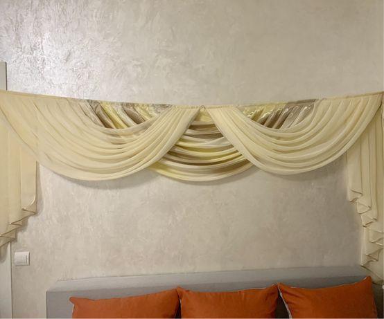 Готовый ламбрекен + шторы с подхватами