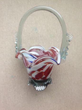 Конфетница-ваза цветное стекло, СССР, без дефектов
