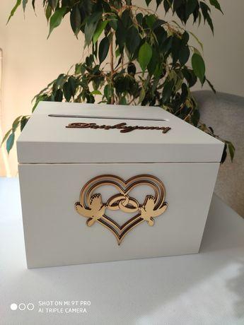 Zestaw ślubny biel i złoto skrzynka na koperty i pudełko na obrączki