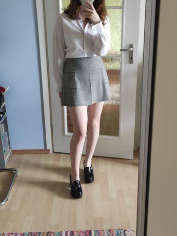Спідниця міні в клітку, сіра, юбка мини
