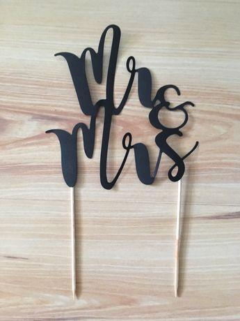 Czarny topper na tort ślub wesele Mr&Mrs