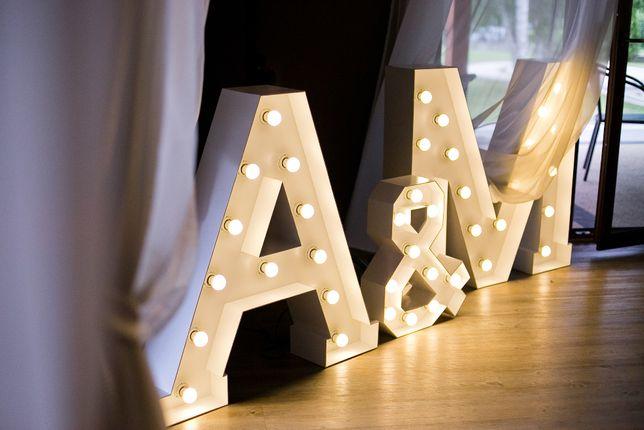 Podświetlane drewniane Inicjały Litery A&M / M&A 100cm na ślub LED 3D
