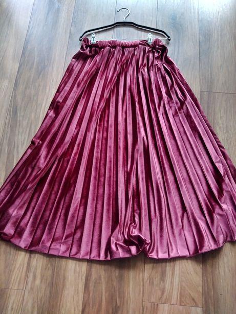 Spódnica welur plisowana w kolorze wina roz.S,M