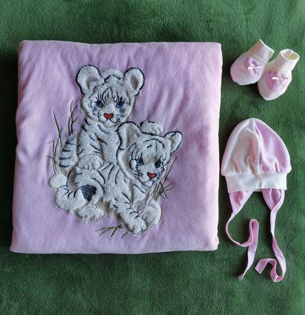 Одеяло-конверт Pufidik для новорожденной девочки + шапочка и пинетки