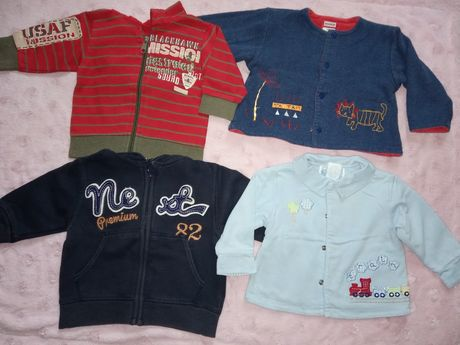 Ubranka dla chłopca, r. 74 (bluzy, body, spodnie)