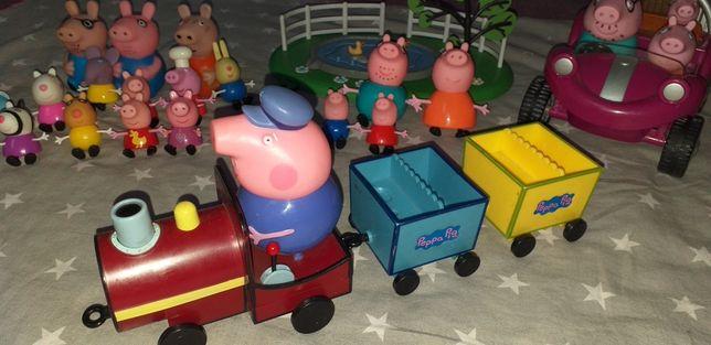 Zestaw świnki peppy/ auto/ pociąg/ staw/ figurki