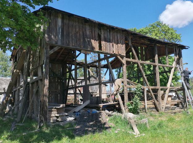 Rozbiórka rozbiórki stodoły skup drewna deski stare drewno stodoła
