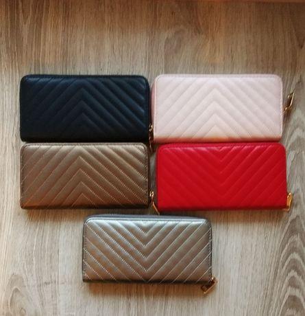 Damski portfel czarny, brązowy, srebrny, czerwony