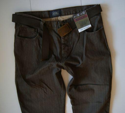 Roz. 32/32 Nowe Spodnie Jeans Plus Pasek Grubo Pleciony Metal Brown