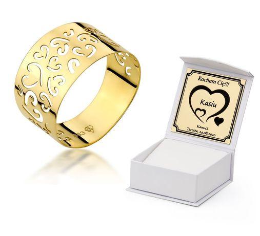 GRAWER Piękny Złoty 333 Pierścionek Ażurowy Obrączka Złota Ażurowa