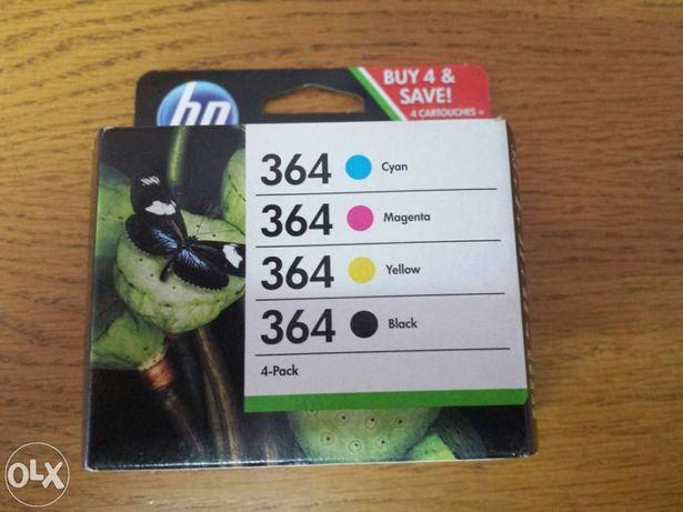 Pack 4 tinteiros hp original 364 preto + cores (N9J73AE) c/garantia