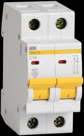 Автоматический выключатель ВА47-29 2Р 16А и 25А 4,5кА х-ка С IEK