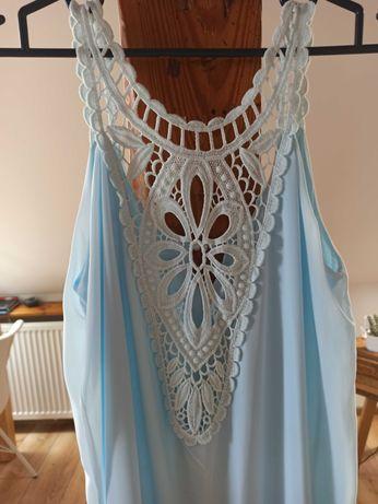 Sukienka błękitna letnia zwiewna r. S ażurowa koronka