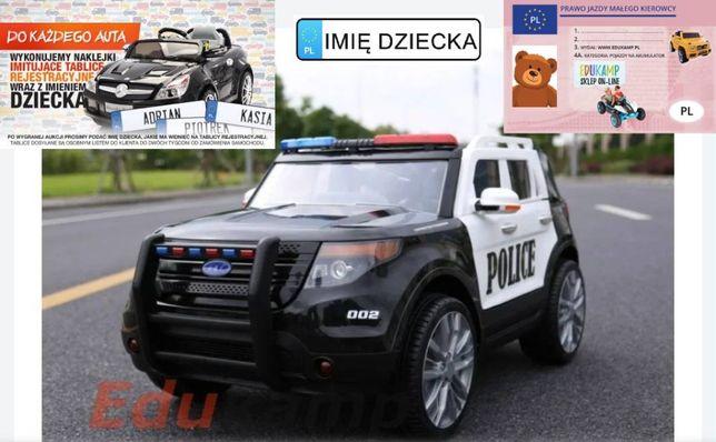 Auto na akumulator policja z megafonem i radiem, miękkie koła/9935