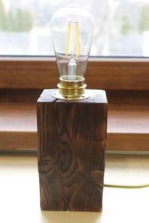 Lampka lampa drewniana biurkowa vintage loft
