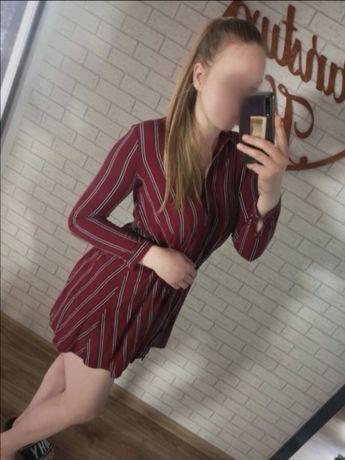Koszulowa sukienka bordowa w paski / Cropp
