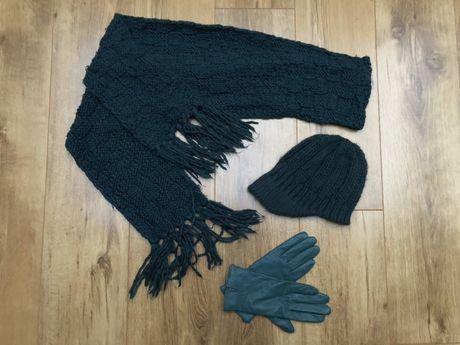 Komplet na zimę jesień czapka szalik rękawiczki skóra wełniane turkus