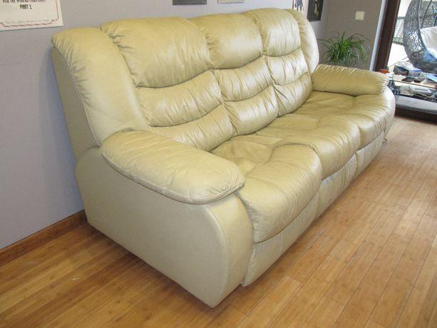 skórzany komplet wypoczynkowy - sofa dwu i trzyosobowa
