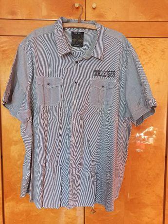 Męska koszula w paski krótki rękaw 5XL