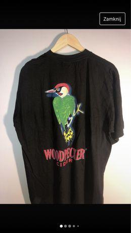 Czarna koszulka woodpecker dzięcioł natura cydr alkohol vintage tshirt