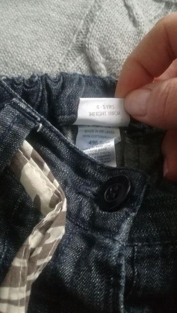 NEXT spodnie dżinsy 110,4-5lat jak nowe, motyw zwierzecy tanio