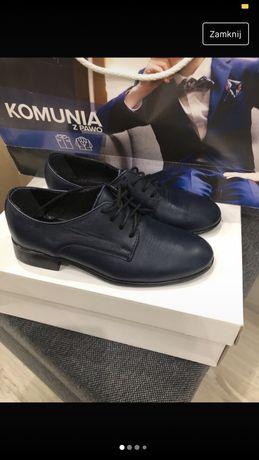 Skórzane pantofle chlopiece 30