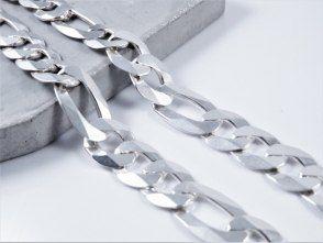 łańcuch Figaro diamentowany, 123,5 g. 60 cm. dł. szer. 15mm. Duży