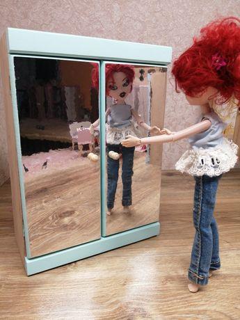 Mebelki drewniane dla lalek typu barbie. Szafa do domku dla lalek.