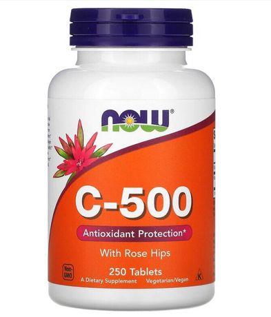 Витамины Now Foods, C-500 с шиповником,( 250 кап) США