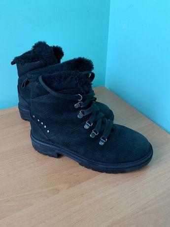 Зимние ботинки Мида, кожаные с натуральным мехом, сапоги зимние