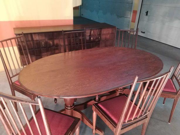 Mobília de sala Madeira exótica africana Panga Panga Mesa + 6 Cadeiras