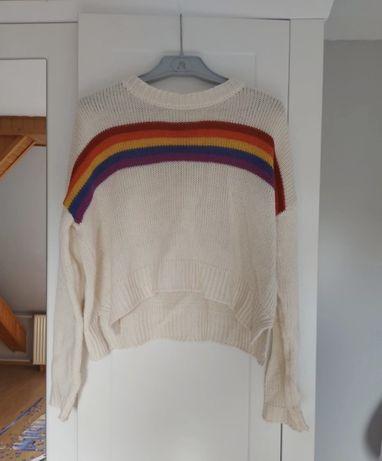 Sweter sweterek biały jasny z paskami kolorowy krótki